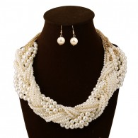 Layering Pearl Bib Hoop Necklace Set