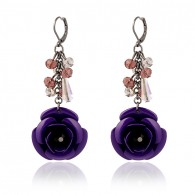 Purple Cute Flower Dangle Earrings