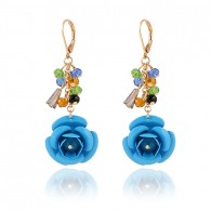 Light Blue Cute Flower Dangle Earrings