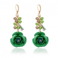 Green Cute Flower Dangle Earrings