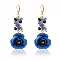 Blue Cute Flower Dangle Earrings