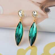 Green Sapphire Costume Earrings e019