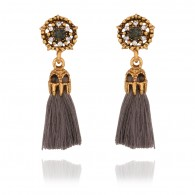 Gray Tassels Drop Earrings e028