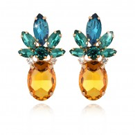 Yellow Blue Pineapple Earrings e029