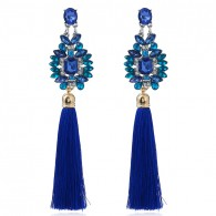 Blue Long Cluster Tassels Earrings e030