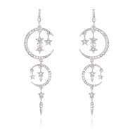 Moon Star Gold Crystal Earrings e048