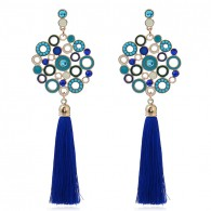 Blue Long Tassels Earrings e051