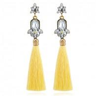 Big Gems Yellow Tassels Earrings e054