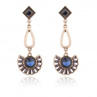 Gold Alloy Sector Shape Drop Earrings e068