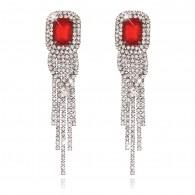 Red Gems Long Drop Statement Earrings e109