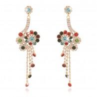 Color Rhinestones Cluster Drop Earrings e114