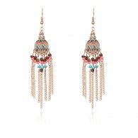 Color Beads Long Tassels Statement Earrings e119