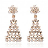 Flower Triangle Pearls Statement Earrings e122