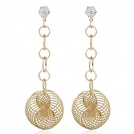 Gold Hollow Ball Drop Statement Earrings e123