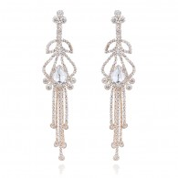 Bridal Rhinestones Long Drop Earrings e124
