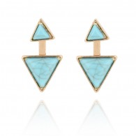 Blue Gems Triangle Statement Earrings e132