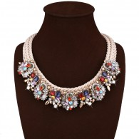 Color Crystal Bib Statement Necklace n111