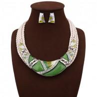 Green Geometry Design Chunky Necklace Earrings Set n114