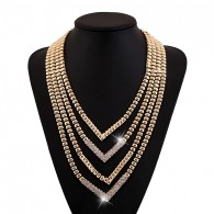 Golden Rhinestone Layered Necklace