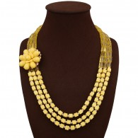 Yellow Layered Colorful Bead Jewelry Set