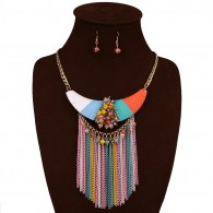 Coloful Beads Tassels Jewelry Set