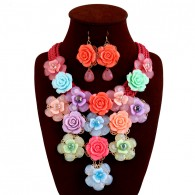 Multicolor Flower Jewelry Sets