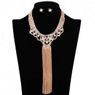 Drop Rhinestone Bauble Necklace Earrings