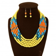 Yellow Layered Bead Chunky Necklace Set