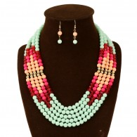 Green Layered Bead Chunky Necklace Set