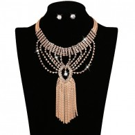 Cool Crystal Bib Necklace Earrings