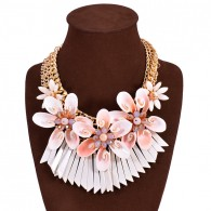 Colorful Boho Bib White Flower Necklace