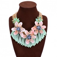 Colorful Boho Bib Green Flower Necklace