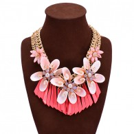 Colorful Boho Bib Pink Flower Necklace