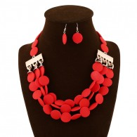 Red Bead Earrings Costume Necklace