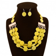 Yellow Bead Earrings Costume Necklace