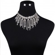 Silvery Chunky Tassels Costume Necklace Sets