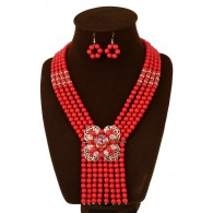 Red Boho Beads Statement Necklace Set