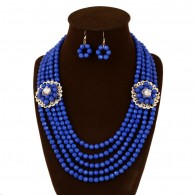 Blue Layered Beads Statement Necklace Earrings