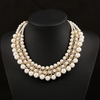 Layered Pearl Bib Statement Necklace n057
