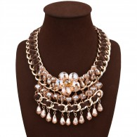 Brown Crystal Costume Necklace