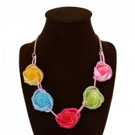Multicolor Large Flower Chunky Bib Necklace