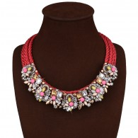 Flower Rhinestone Costume Necklace