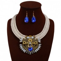 Big Crystal Bib Statement Necklace Sets