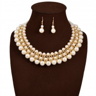Layered Pearl Collar Bib Necklace Earrings n094