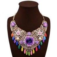 Crystal Cluster Flower Necklace
