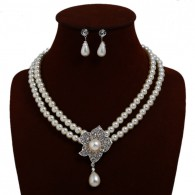 White Pearl Chunky Necklace Earrings n109