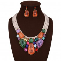 Multicolour Red Geometric Statement Necklace Earrings Set n112