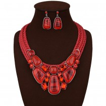 Red Geometric Necklace Earrings Jewelry Set N112