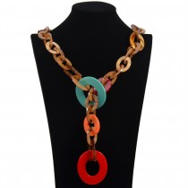 Long Drop Circle Necklace n075