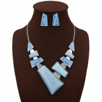 Triangle Statement Necklace Earrings Set